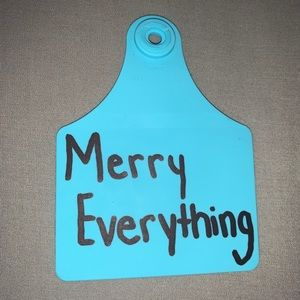 """(3/$20) blue """"merry everything"""" cow tag keychain"""